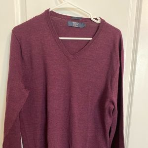 J. Crew Merino Wool Slim V-Neck Sweater, Large
